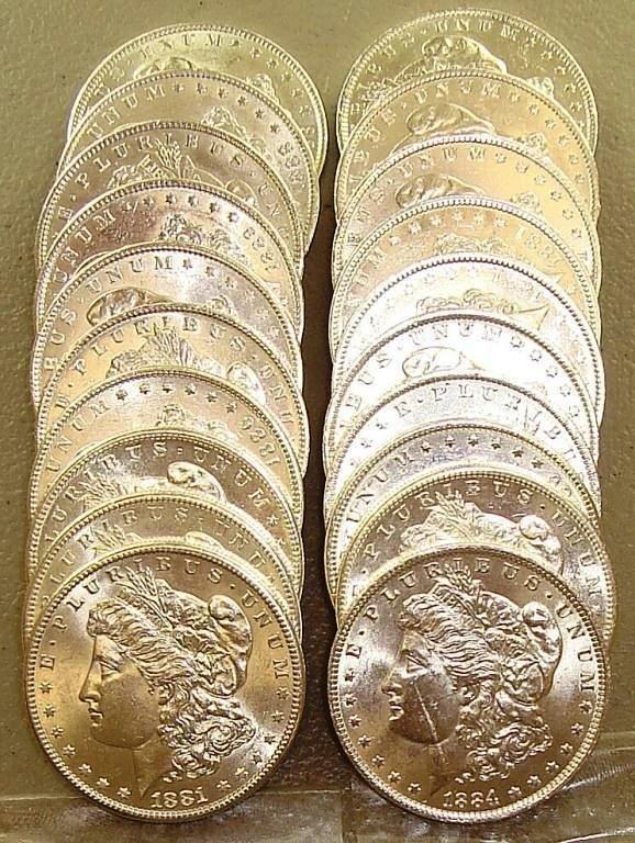 Lot of (20) BU Morgan Dollars Mixed Date