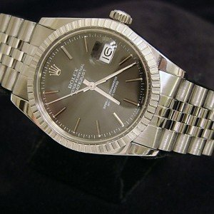 Mens Rolex Datejust SS Watch Black Dial
