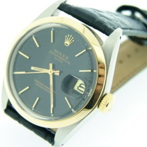 14k 2 tone Rolex 1500 Leather Band Black Dial
