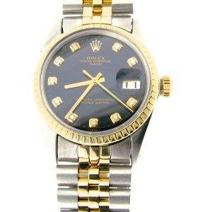 Rolex Date 2 Tone 14k/ss 1500 Blk Dia. Dial