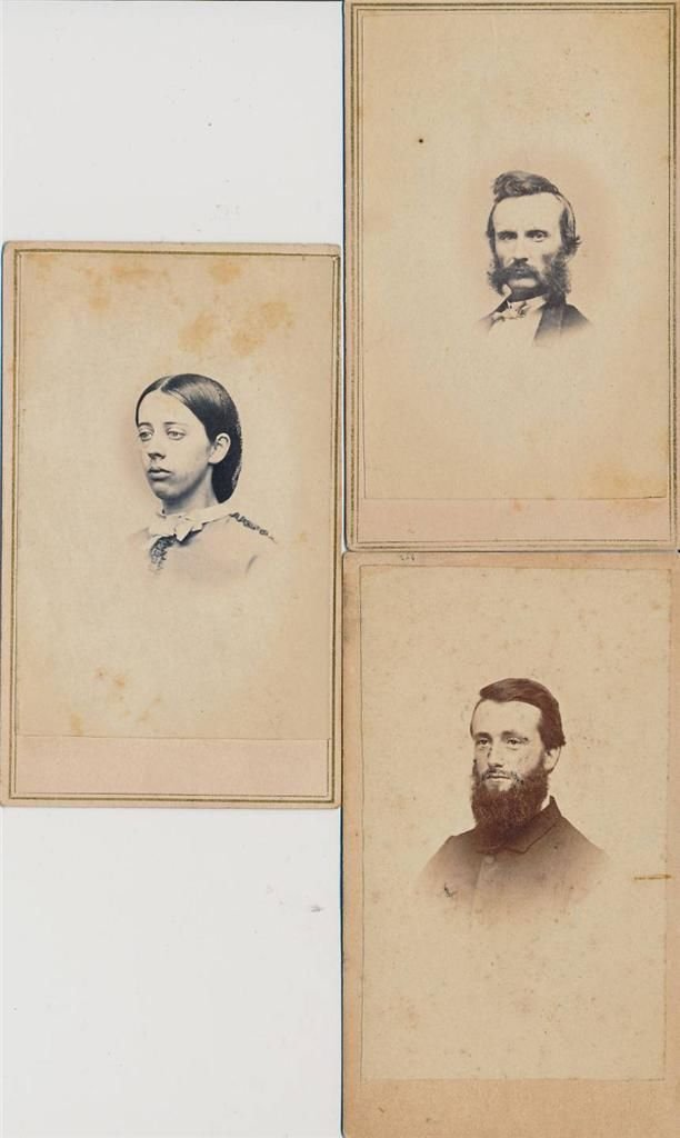 2 Bearded Civil War Gentleman and Lady CDV