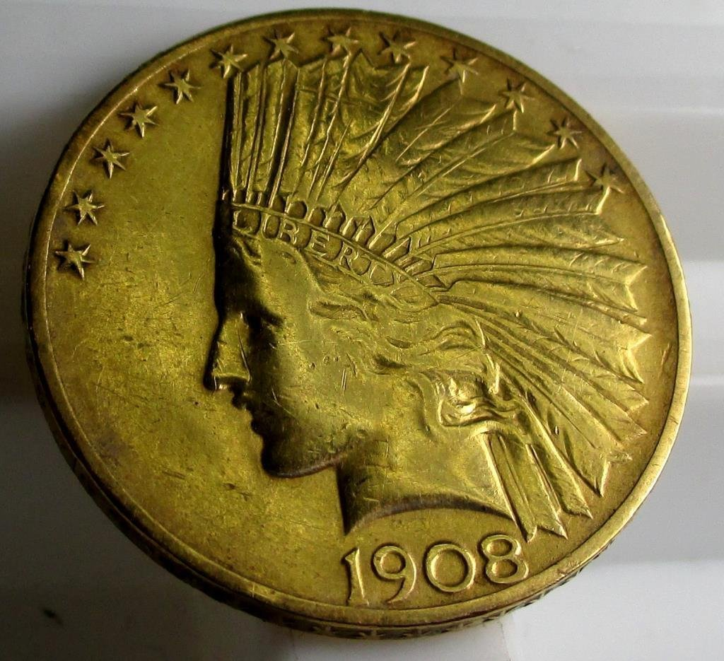 1908 $ 10 Gold Indian Eagle