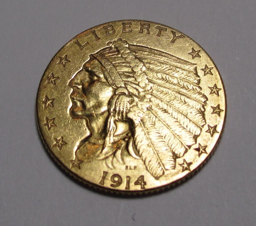 1914 D $ 2.5 Gold Indian