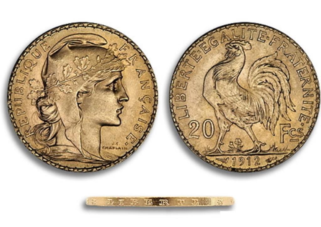 1912 Gold 20 Francs Rooster UNC