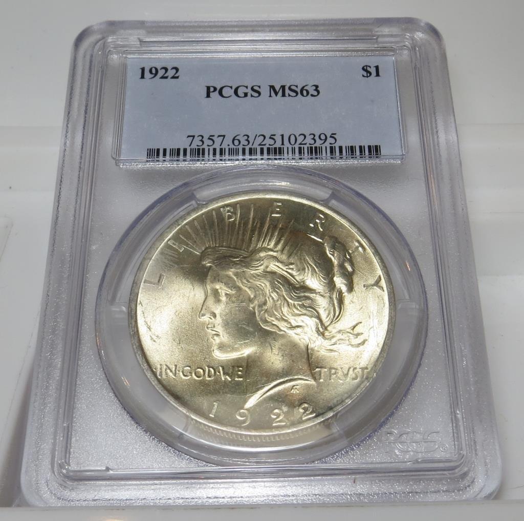 1922 PCGS MS 63 Peace Dollar