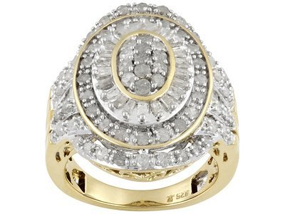 Diamond 1.50ctw Round And Baguette, 18k Yellow Gold