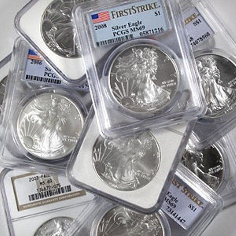 Lot of (10) MS 69 US Silver Eagles