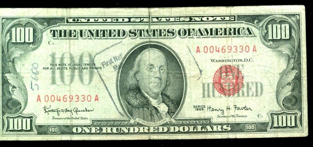 1966 RED SEAL $100 Bill Bank Stamped
