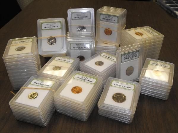 Lot of 100 Slabbed INB Coins- BU-Proof