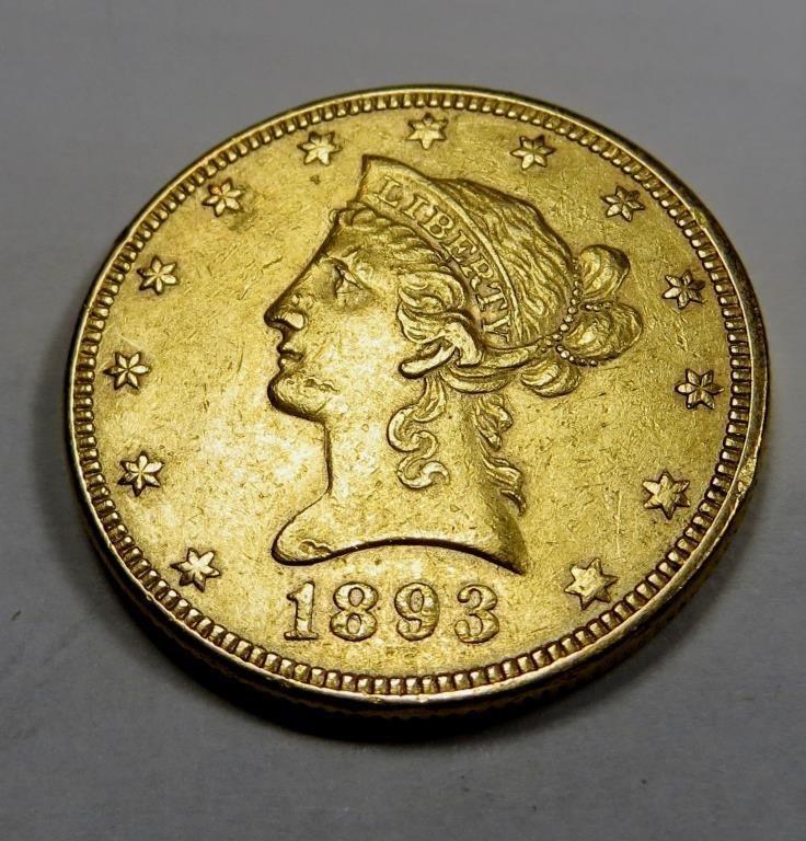 1893 XF-AU $10 Gold Liberty Eagle