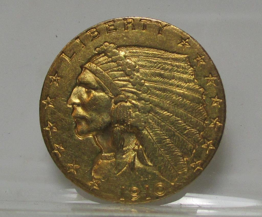 1910 $ 2.5 Gold Indian F-XF