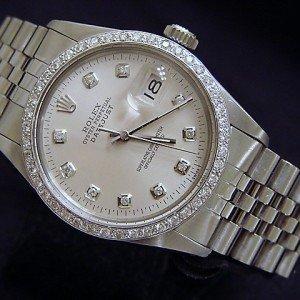 Mens 18k White Gold/SS Rolex Datejust Date Watch