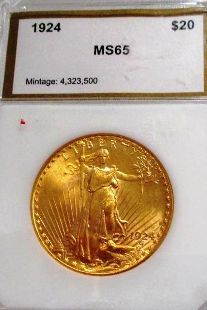 1924 MS 65 Grade PCI $ 20 St. Gaudens Gold
