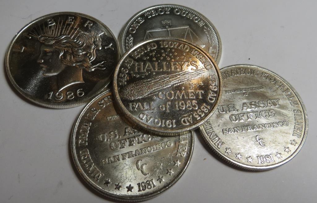 (5) 1 oz. Silver Bullion Rounds