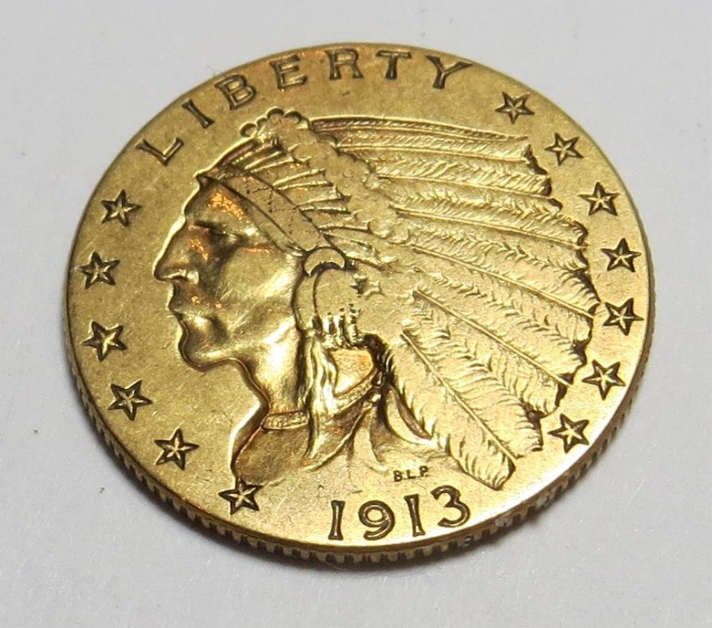 1913 $ 2.5 Gold Indian Coin