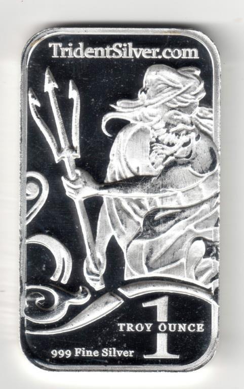 1 Oz Trident Silver Bar -  Neptune