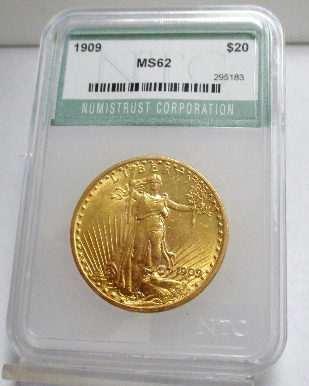 1909 MS 62 NTC $ 20 Gold Saint Gaudne's
