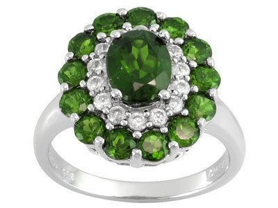 Russian Chrome Diopside 3.62ctw With .50ctw White