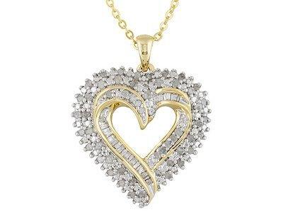 Diamond 1.00ctw 14k Yellow Gold Over Brass Heart