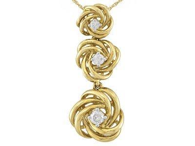 "Diamond .20ctw 14k Yellow Gold Pendant With 18"" Chain"