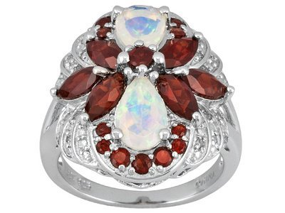 Opal,  Garnet  And White Diamond, 3.39ctw Sterling