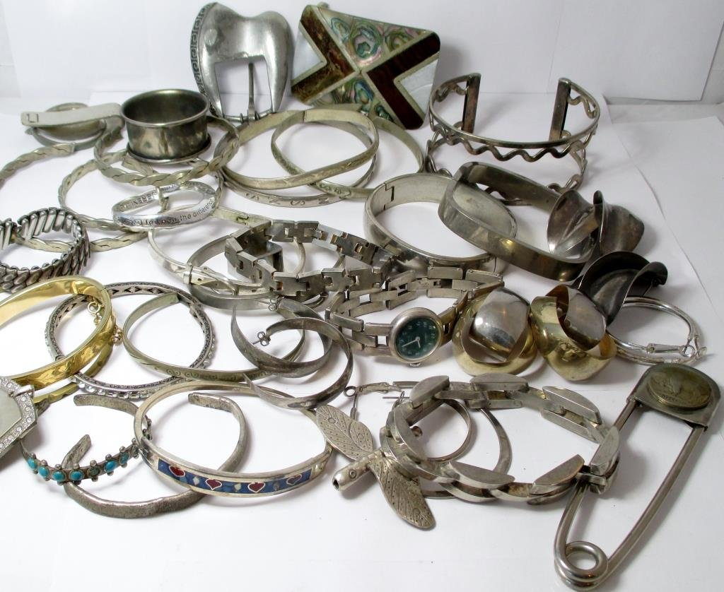 Mixed lot of Sterling Silver, Silver plate, Mix