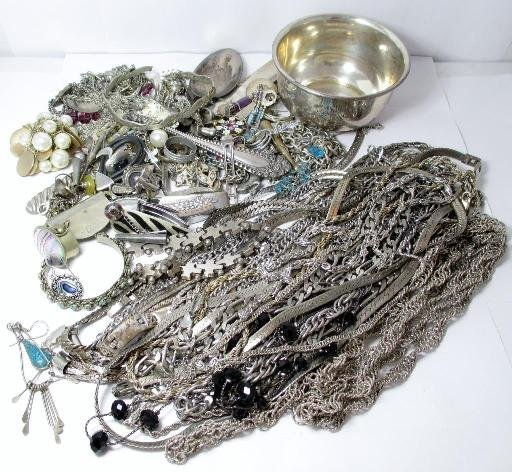 Mixed Lot of Silver Plate, SIlver Toned, Sterling