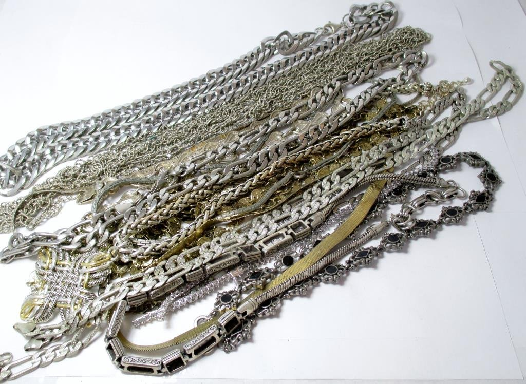 Assorted Sterling, White Metal, Plated Necklaces