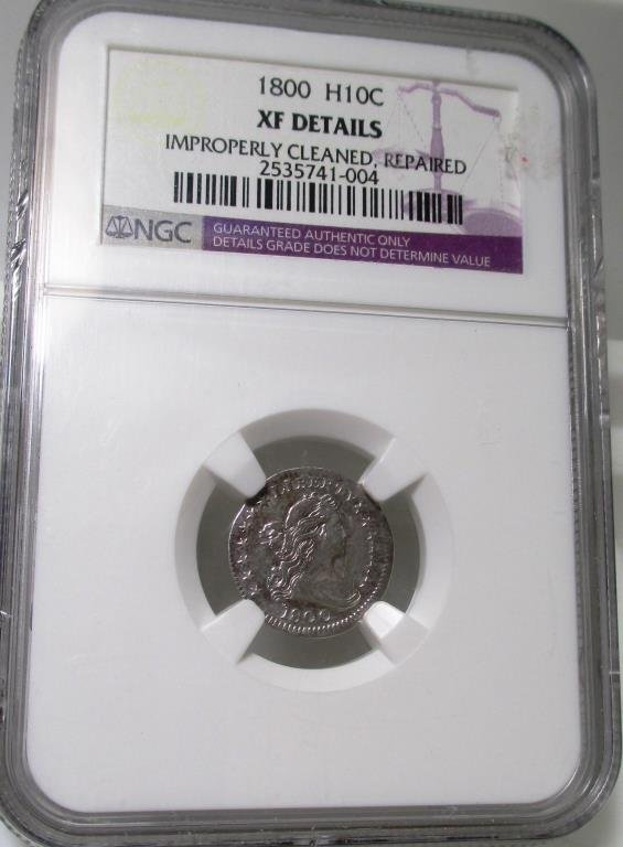 1800 H 10c XF Details NGC KEY DATE RARE