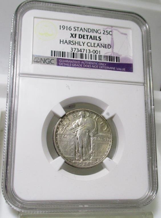 KEY DATE 1916 Standing Liberty 25c XF NGC Details