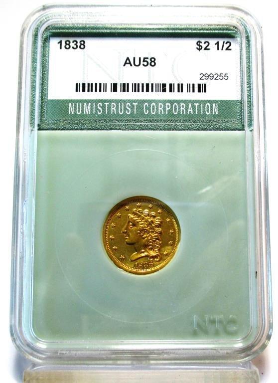 1838 AU 58 Classic $ 2.5 Gold $ 2300 NTC