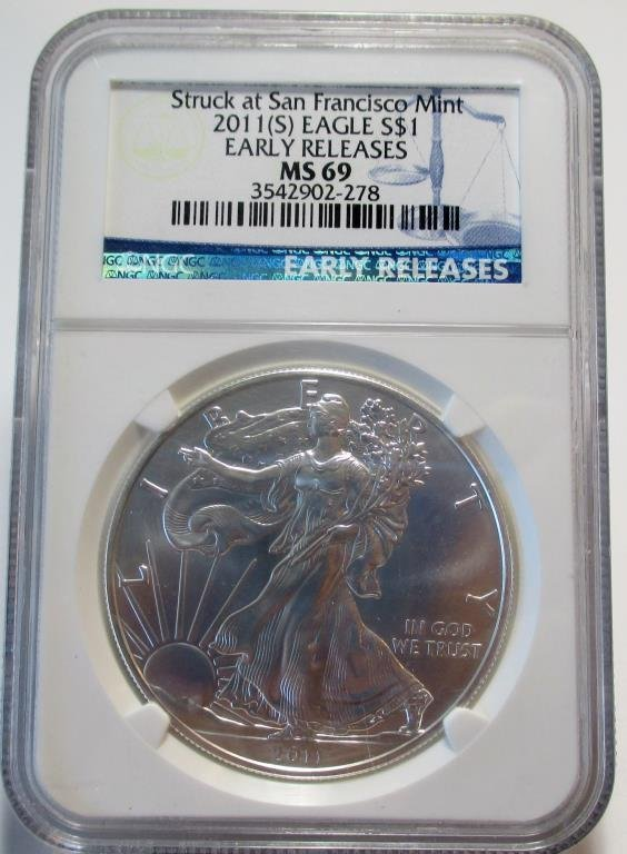 2011 S MS 69 Early Releases SIlver Eagle