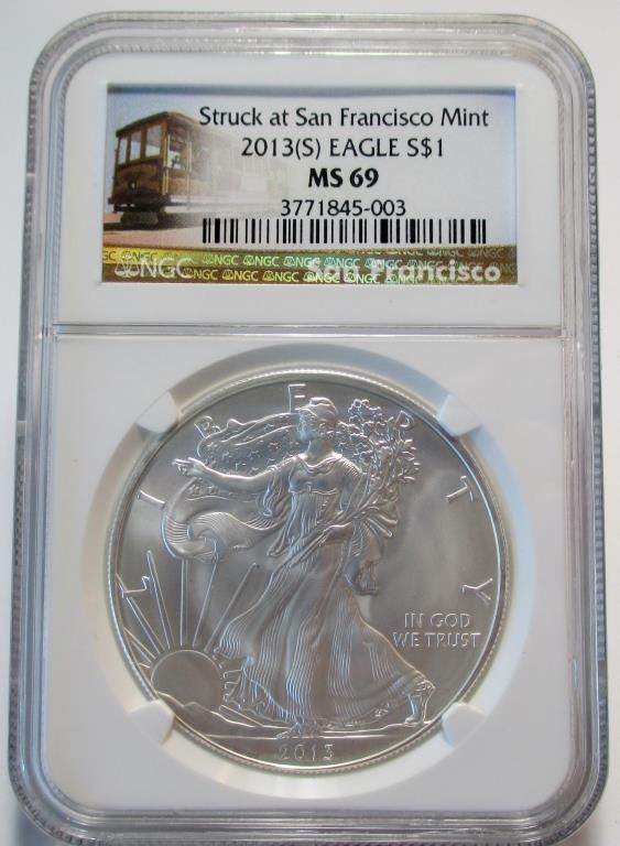 2013 San Francisco Brown Label Silver Eagle MS 69