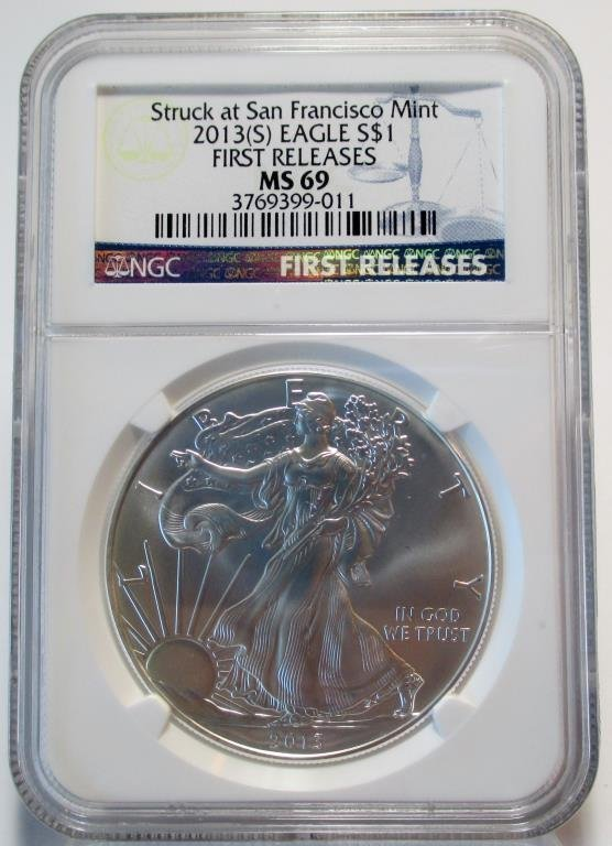 2013 SF First Releases MS 69 NGC Silver Eagle