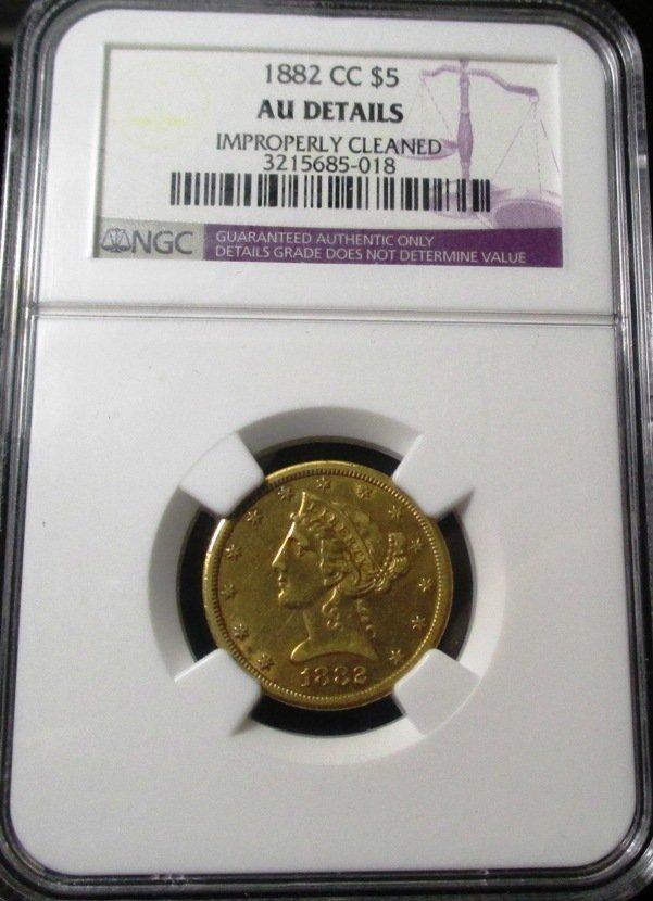 1882 Carson City $ 5 Liberty AU Details NGC