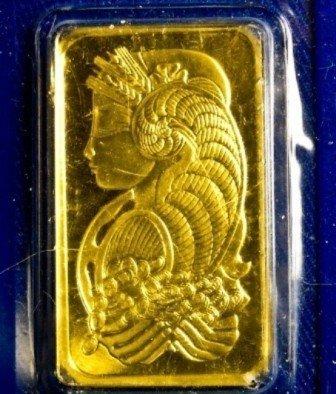 1 oz Pamp Suisse Gold Ingot on Assay Card