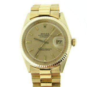 Mens Rolex Datejust 18k Gold w/ Gold Plated