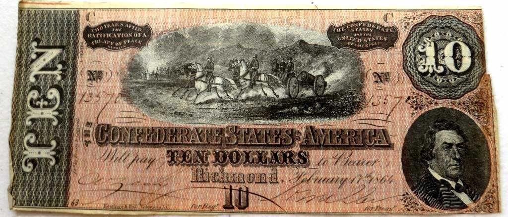 1864 Confederate Currency $ 10 Note AU- UNC