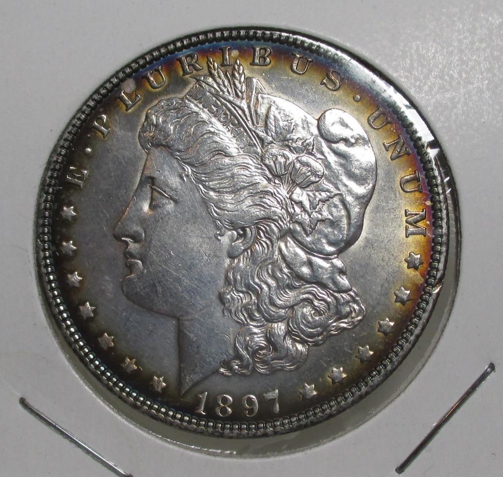 1897 P Rainbow Toned Morgan Dollar