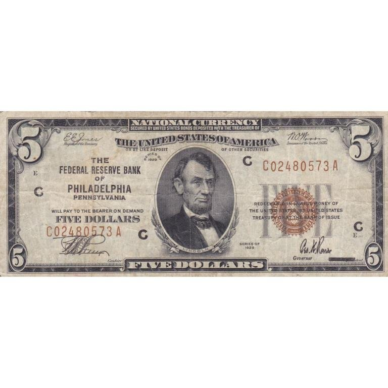 1929 $ 5 Dollar Philadelphia US Note