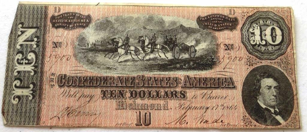 AU- UNC $ 10 Confederate Currency Note