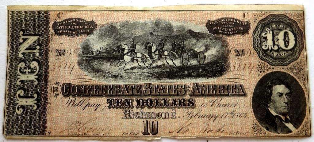 $10 Confederate Currency AU-UNC