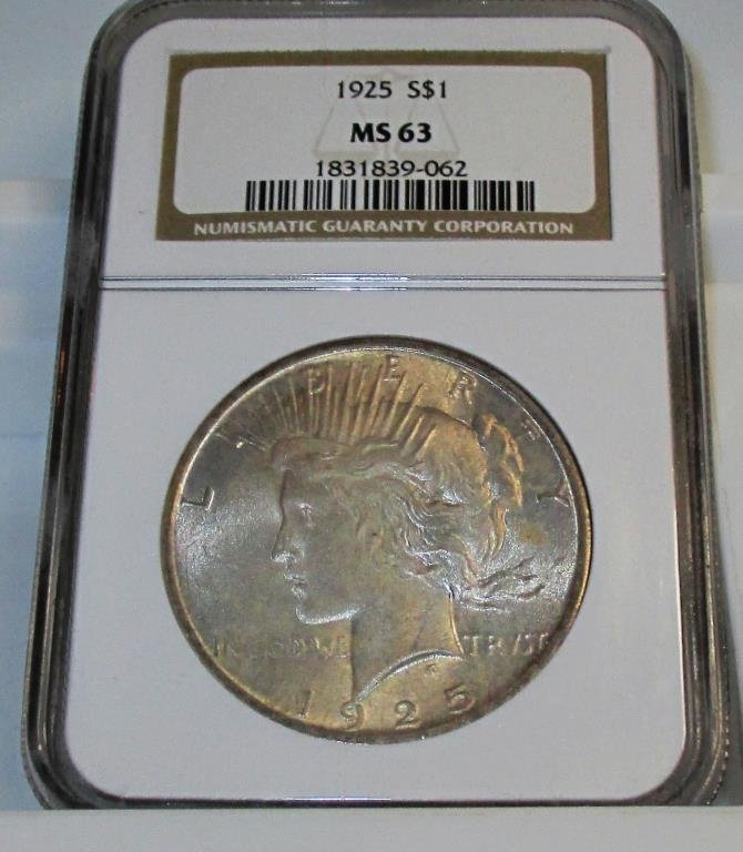 1925 MS 63 Better Date Peace Dollar NGC