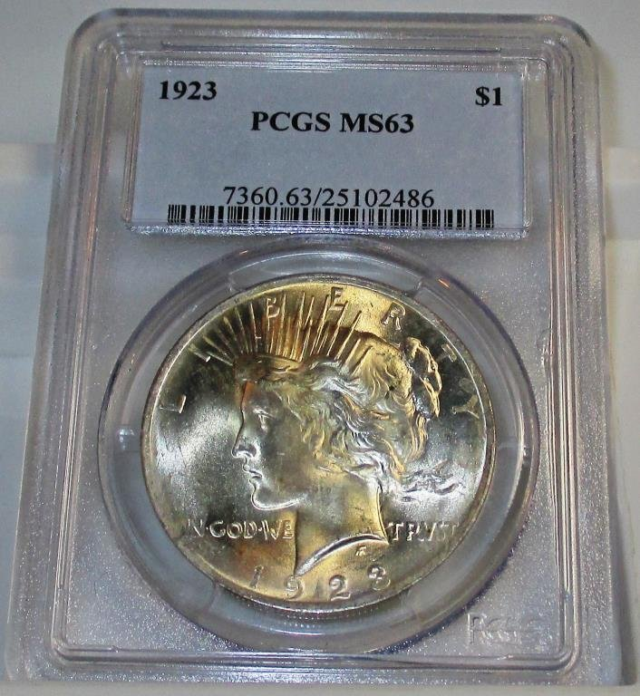 1923 MS 63 PCGS Peace Silver Dollar