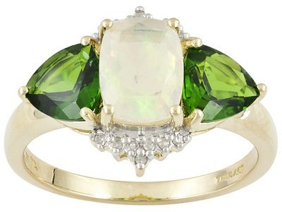 2.10ctw Ethiopian Opal And Chrome Diopside W/ Diamond
