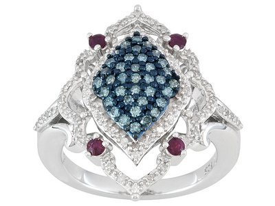 .24ctw Ruby & .50ctw Wht & Blue Velvet Diamond Rhodium