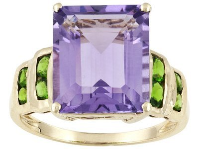 4.00ct Emerald Cut  Amethyst With .48ctw Round Chrome