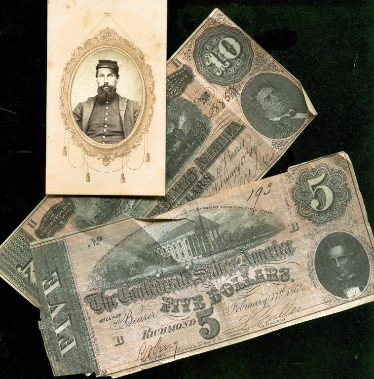 Confederate Currency and Civil War Solider CDV