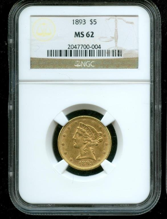 1893 MS 62 $ 5 Gold Liberty