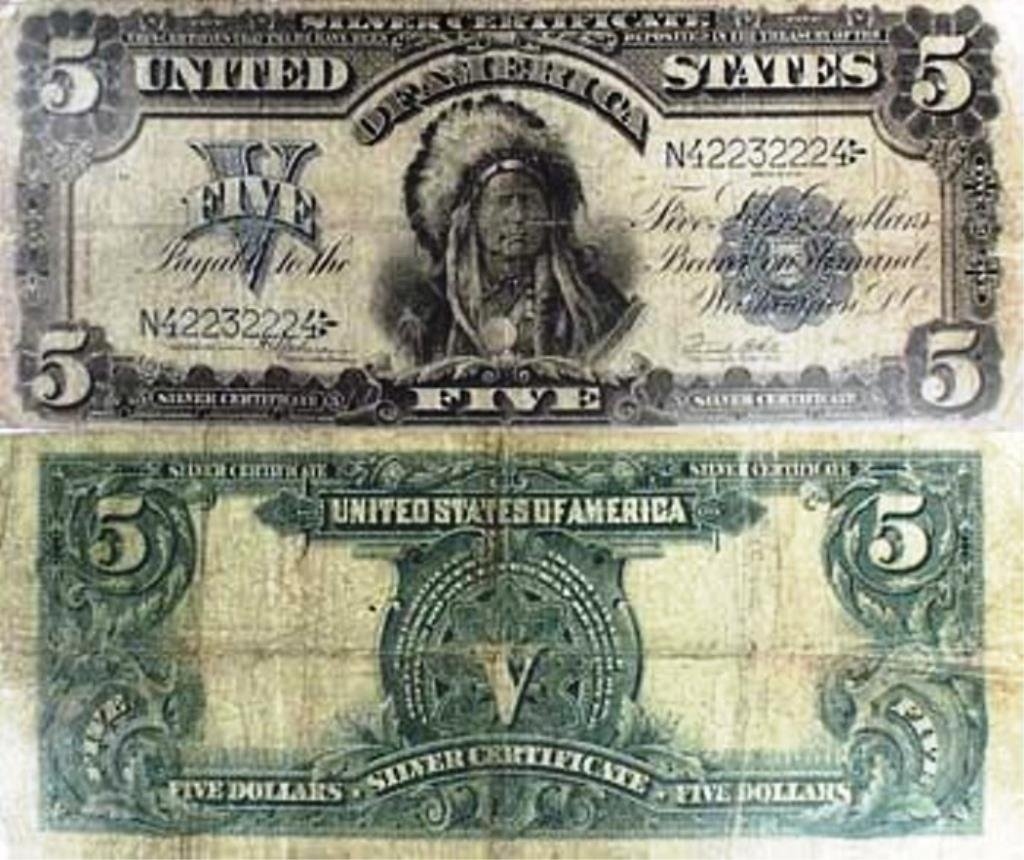 $5 Indian Chief Silver Certificate Rare 1899 G-VG